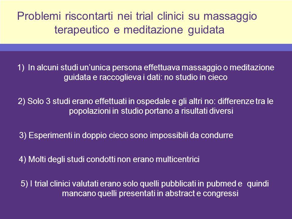 Problemi riscontarti nei trial clinici su massaggio terapeutico e meditazione guidata 1)In alcuni studi ununica persona effettuava massaggio o meditaz