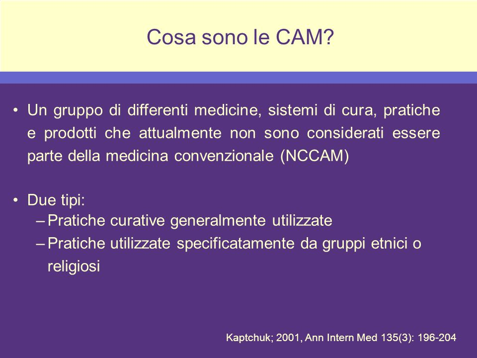 I 5 domini delle CAM Sistemi medici alternativi (es.