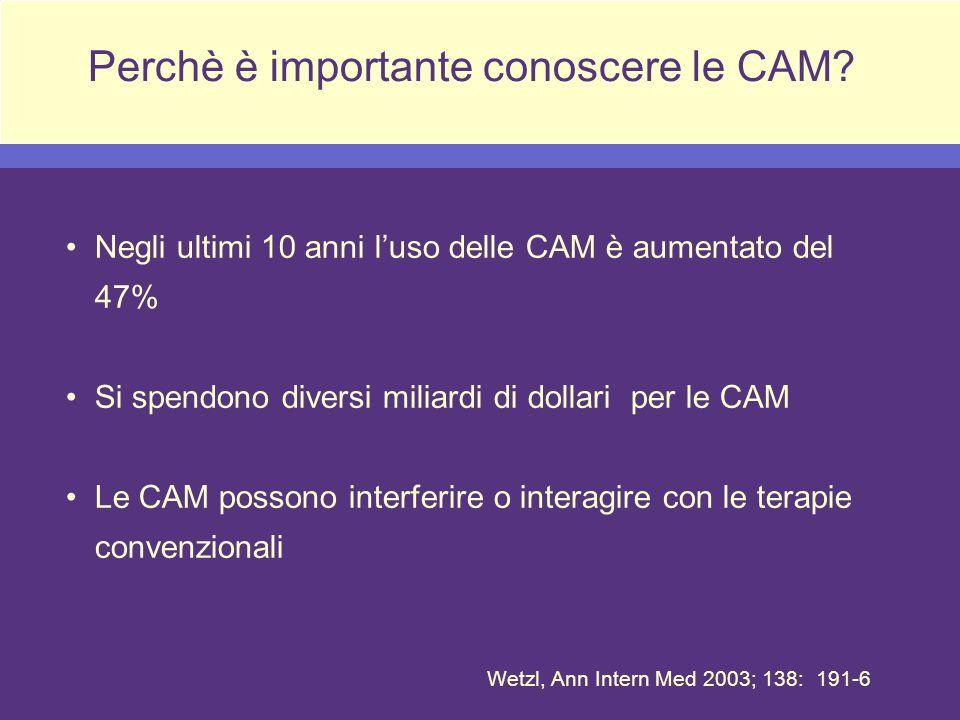 Perchè è importante conoscere le CAM? Negli ultimi 10 anni luso delle CAM è aumentato del 47% Si spendono diversi miliardi di dollari per le CAM Le CA