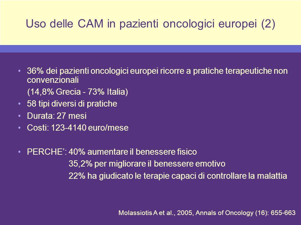 36% dei pazienti oncologici europei ricorre a pratiche terapeutiche non convenzionali (14,8% Grecia - 73% Italia) 58 tipi diversi di pratiche Durata: