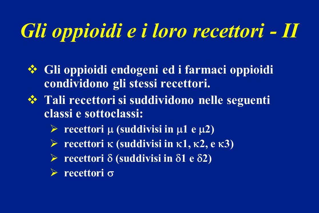 Definizioni - 1 AFFINITA: capacità di un oppioide di legarsi con il suo recettore a formare un complesso più o meno stabile (alta affinità, bassa affinità) ATTIVITA INTRINSECA: capacità del complesso farmaco- recettore di raggiungere un certo effetto biologico AGONISTA: sostanza con affinità per un recettore e che induce attività intrinseca ANTAGONISTA: sostanza con affinità per un recettore, ma che non induce un attività intrinseca