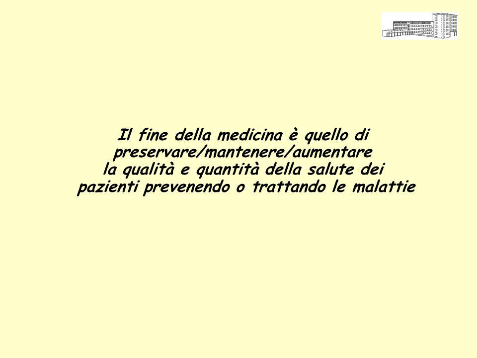 Il fine della medicina è quello di preservare/mantenere/aumentare la qualità e quantità della salute dei pazienti prevenendo o trattando le malattie