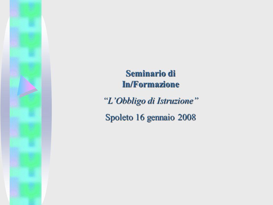 Seminario di In/Formazione LObbligo di Istruzione Spoleto 16 gennaio 2008