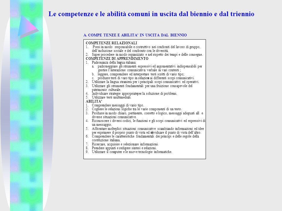 Le competenze e le abilità comuni in uscita dal biennio e dal triennio