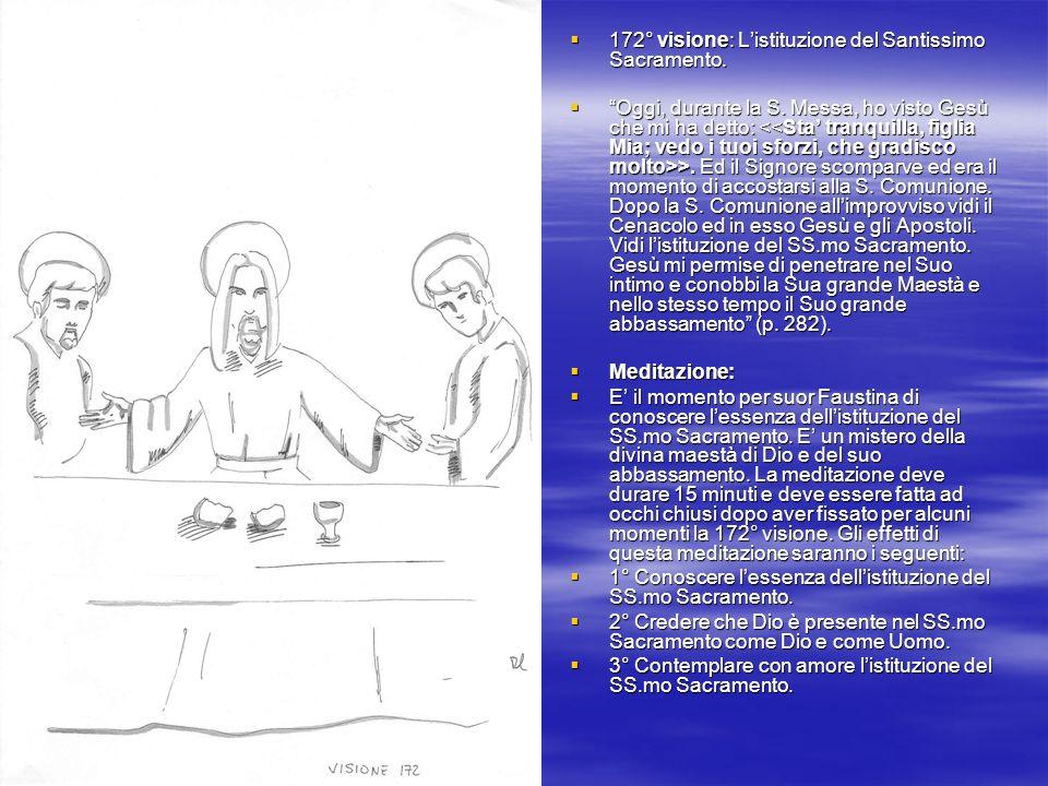 172° visione: Listituzione del Santissimo Sacramento. 172° visione: Listituzione del Santissimo Sacramento. Oggi, durante la S. Messa, ho visto Gesù c