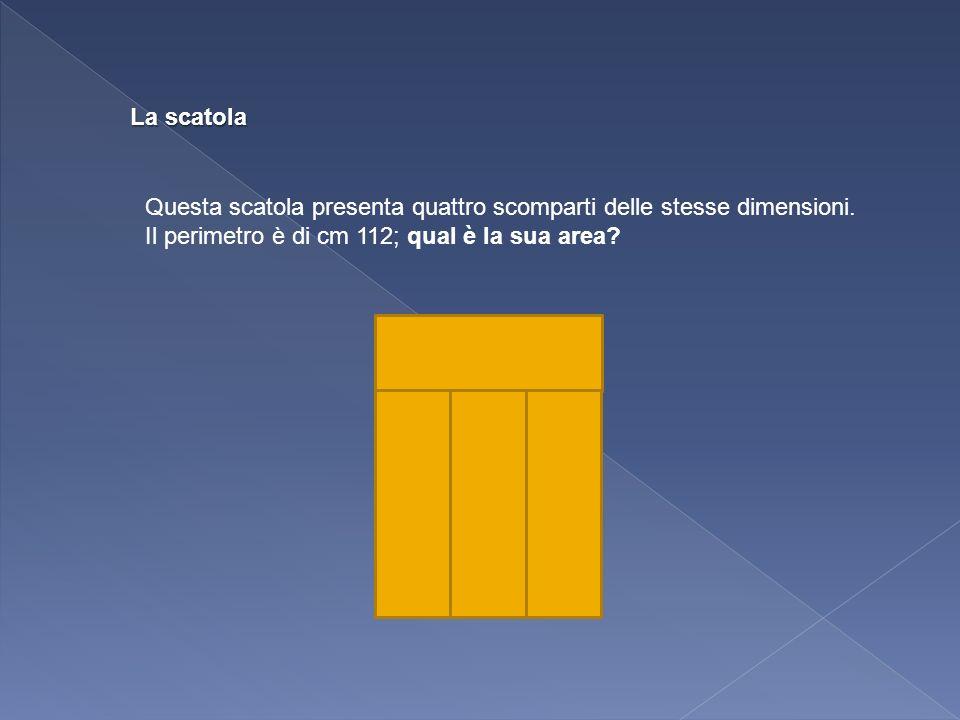La scatola Questa scatola presenta quattro scomparti delle stesse dimensioni. Il perimetro è di cm 112; qual è la sua area?