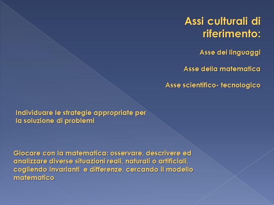 Assi culturali di riferimento: Asse dei linguaggi Asse della matematica Asse scientifico- tecnologico Individuare le strategie appropriate per la solu