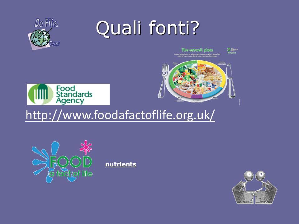Quali fonti? http://www.foodafactoflife.org.uk/ nutrients