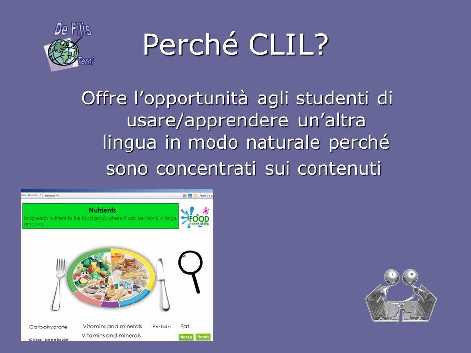 Perché CLIL? Offre lopportunità agli studenti di usare/apprendere unaltra lingua in modo naturale perché sono concentrati sui contenuti sono concentra