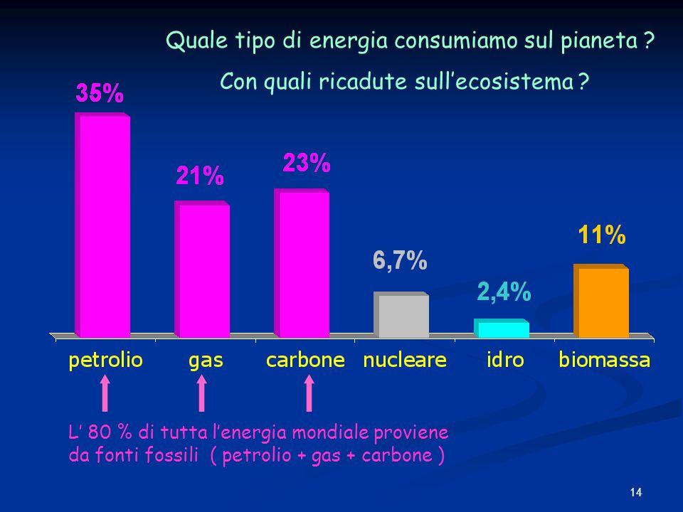 14 L 80 % di tutta lenergia mondiale proviene da fonti fossili ( petrolio + gas + carbone ) Quale tipo di energia consumiamo sul pianeta ? Con quali r