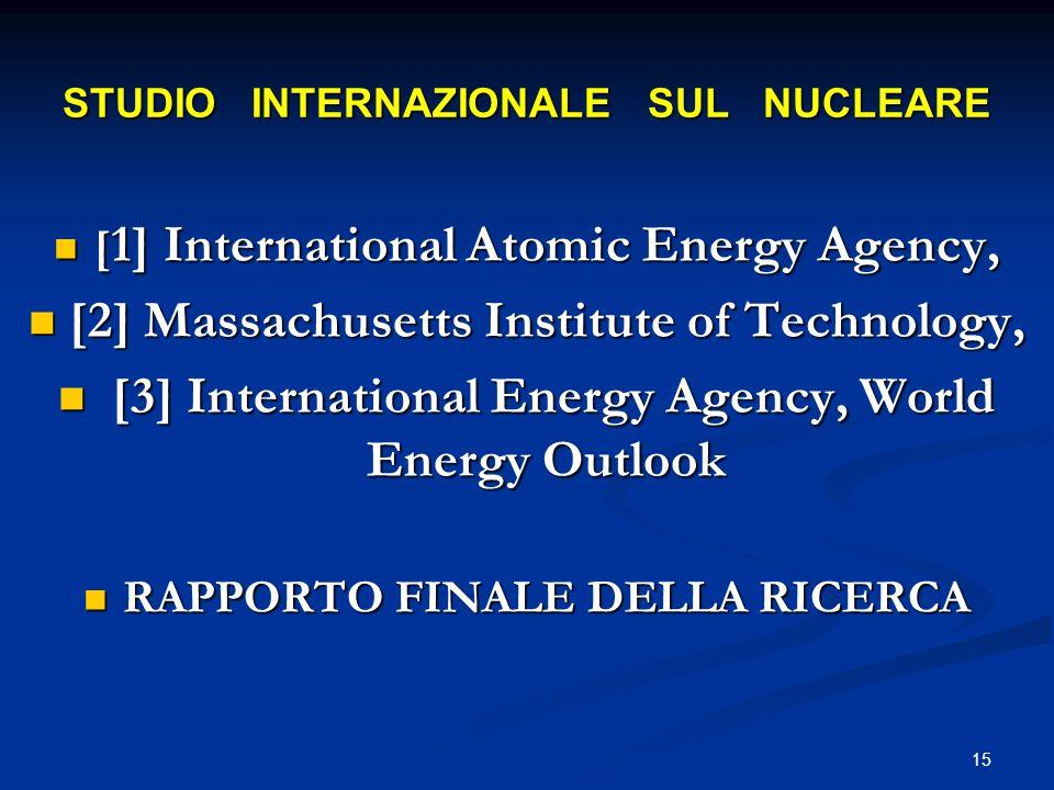 STUDIO INTERNAZIONALE SUL NUCLEARE [ 1] International Atomic Energy Agency, [ 1] International Atomic Energy Agency, [2] Massachusetts Institute of Te