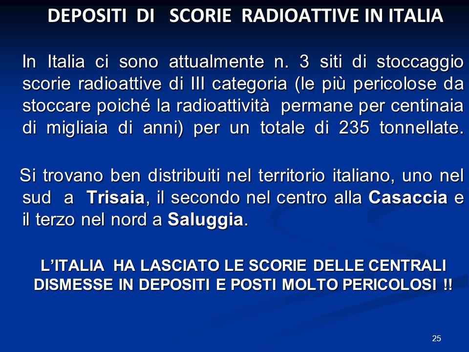 DEPOSITI DI SCORIE RADIOATTIVE IN ITALIA DEPOSITI DI SCORIE RADIOATTIVE IN ITALIA In Italia ci sono attualmente n. 3 siti di stoccaggio scorie radioat