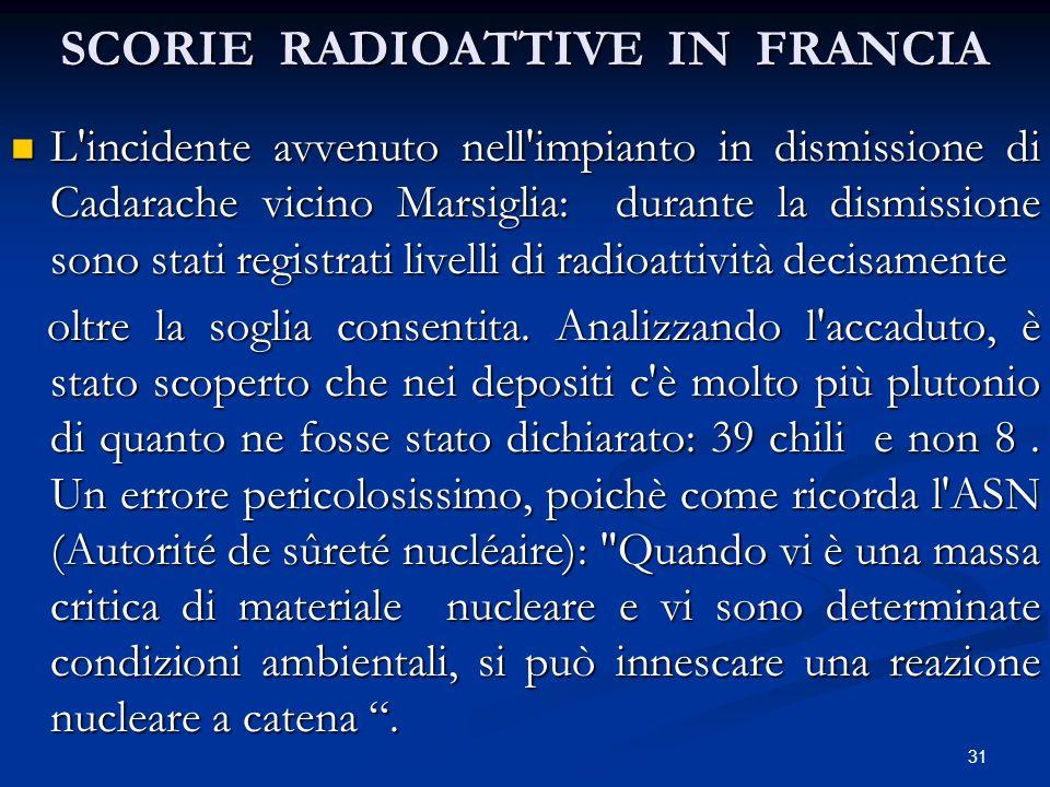 SCORIE RADIOATTIVE IN FRANCIA L'incidente avvenuto nell'impianto in dismissione di Cadarache vicino Marsiglia: durante la dismissione sono stati regis