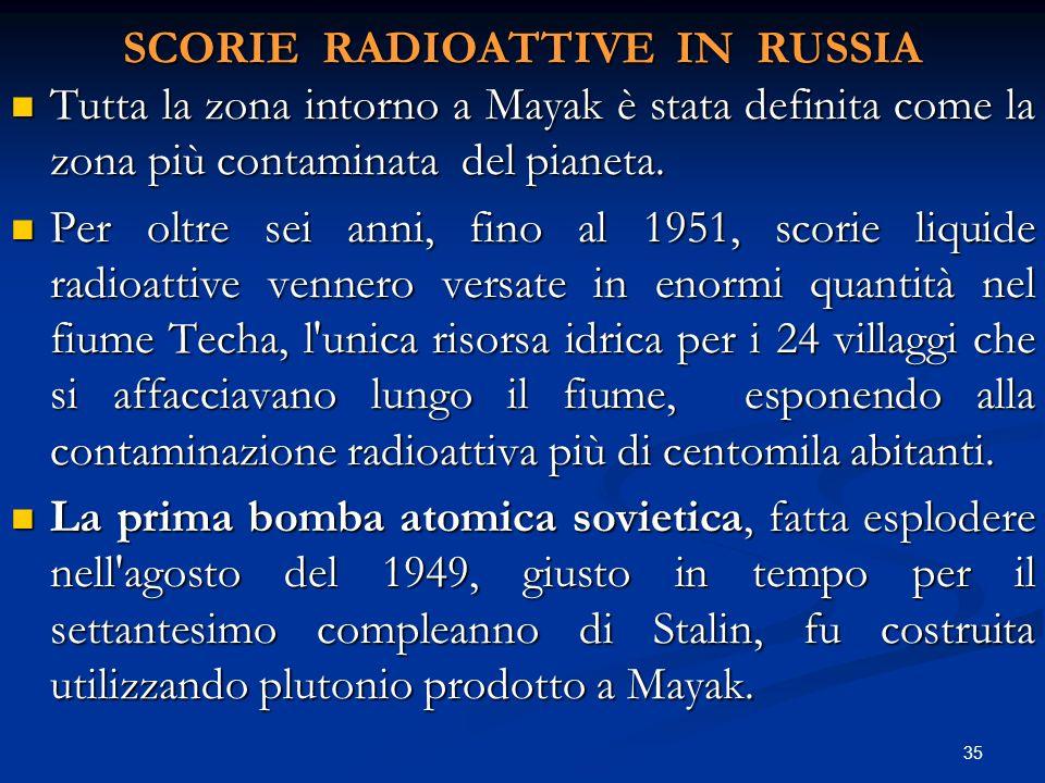 SCORIE RADIOATTIVE IN RUSSIA Tutta la zona intorno a Mayak è stata definita come la zona più contaminata del pianeta. Tutta la zona intorno a Mayak è