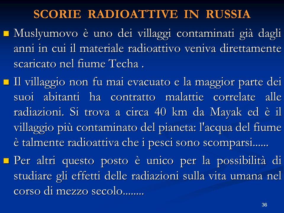 SCORIE RADIOATTIVE IN RUSSIA Muslyumovo è uno dei villaggi contaminati già dagli anni in cui il materiale radioattivo veniva direttamente scaricato ne