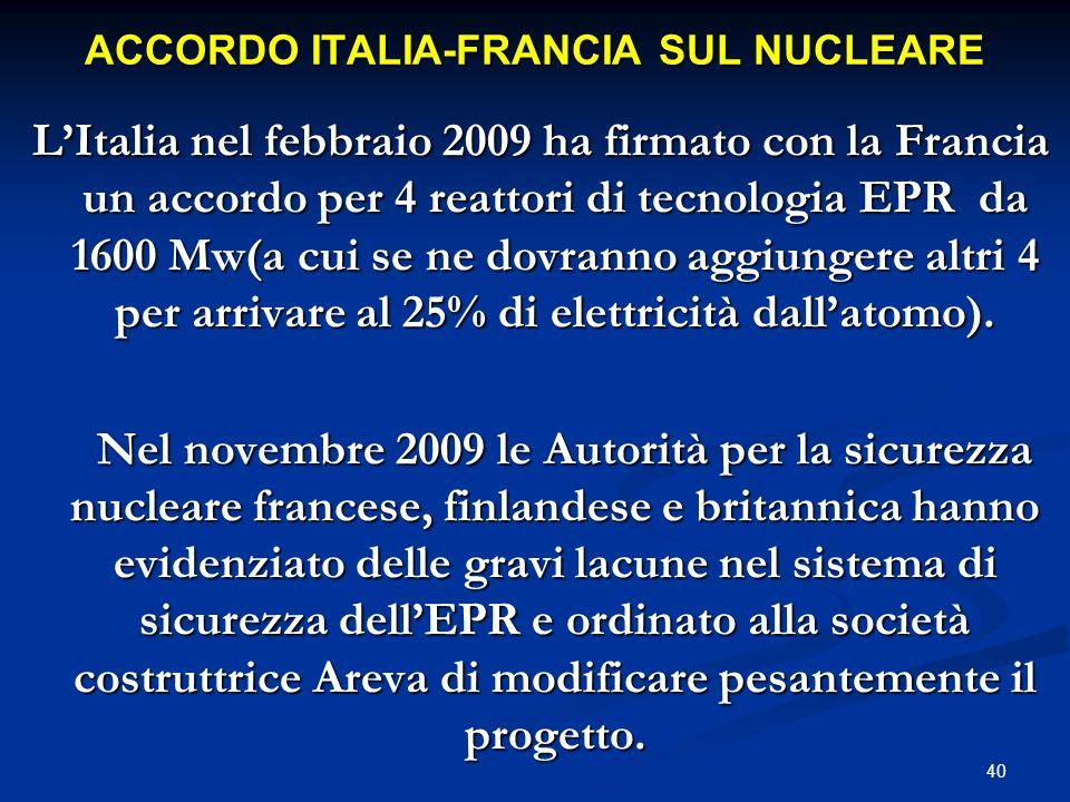 ACCORDO ITALIA-FRANCIA SUL NUCLEARE LItalia nel febbraio 2009 ha firmato con la Francia un accordo per 4 reattori di tecnologia EPR da 1600 Mw(a cui s