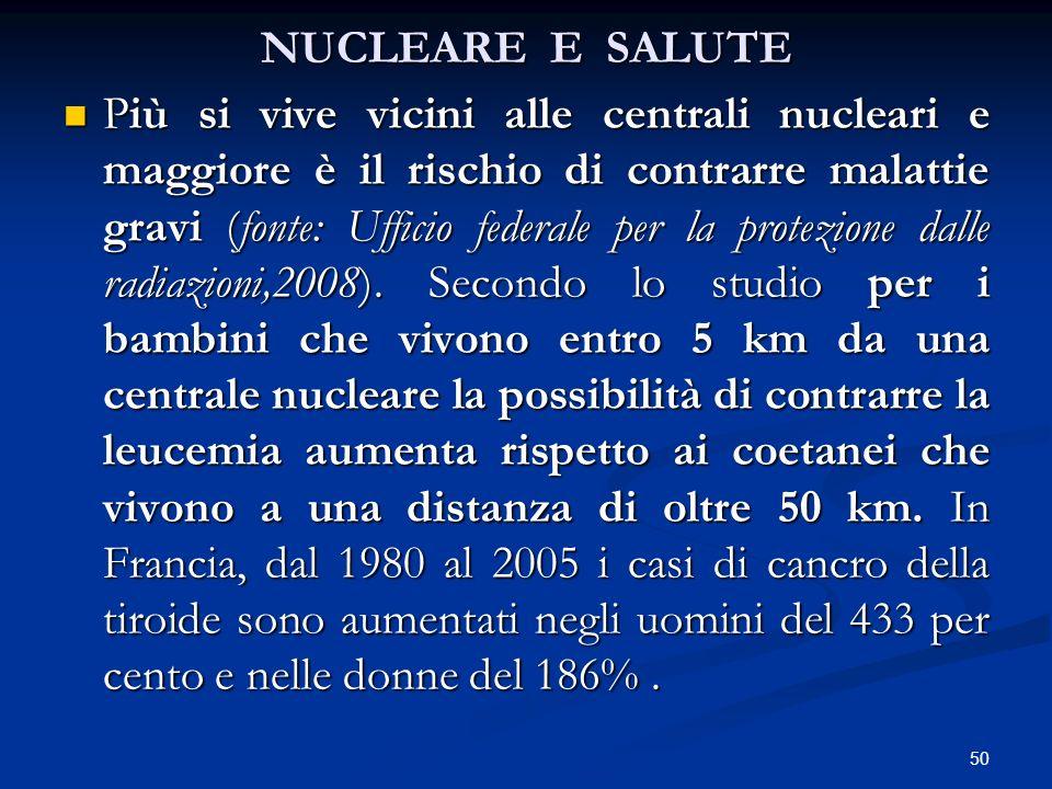 NUCLEARE E SALUTE Più si vive vicini alle centrali nucleari e maggiore è il rischio di contrarre malattie gravi (fonte: Ufficio federale per la protez