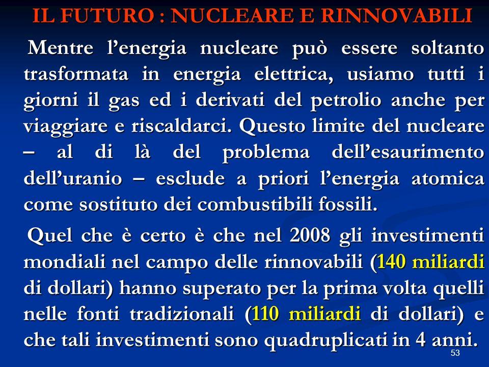 IL FUTURO : NUCLEARE E RINNOVABILI IL FUTURO : NUCLEARE E RINNOVABILI Mentre lenergia nucleare può essere soltanto trasformata in energia elettrica, u