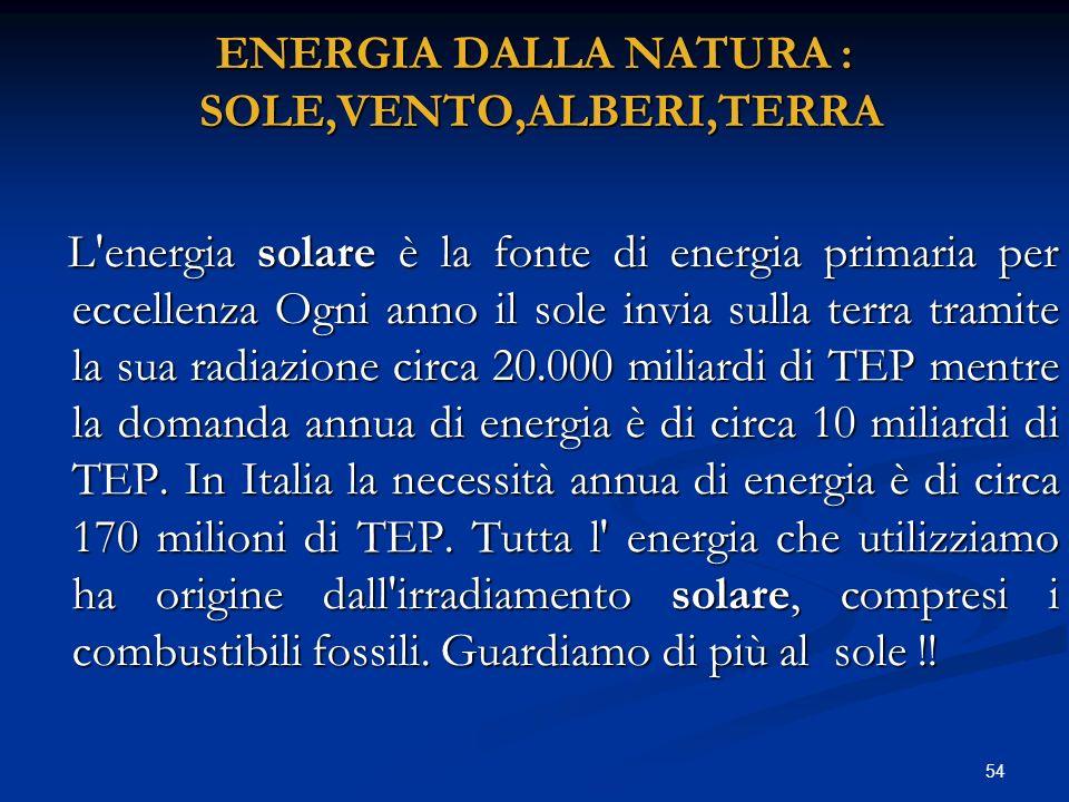 ENERGIA DALLA NATURA : SOLE,VENTO,ALBERI,TERRA L'energia solare è la fonte di energia primaria per eccellenza Ogni anno il sole invia sulla terra tram