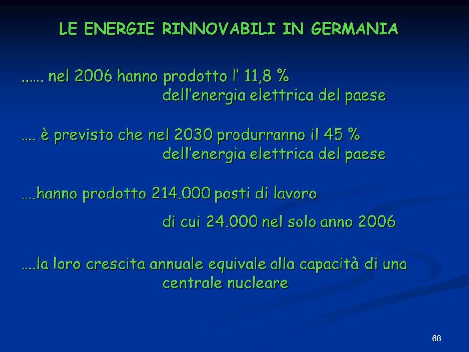 68 LE ENERGIE RINNOVABILI IN GERMANIA..…. nel 2006 hanno prodotto l 11,8 % dellenergia elettrica del paese …. è previsto che nel 2030 produrranno il 4