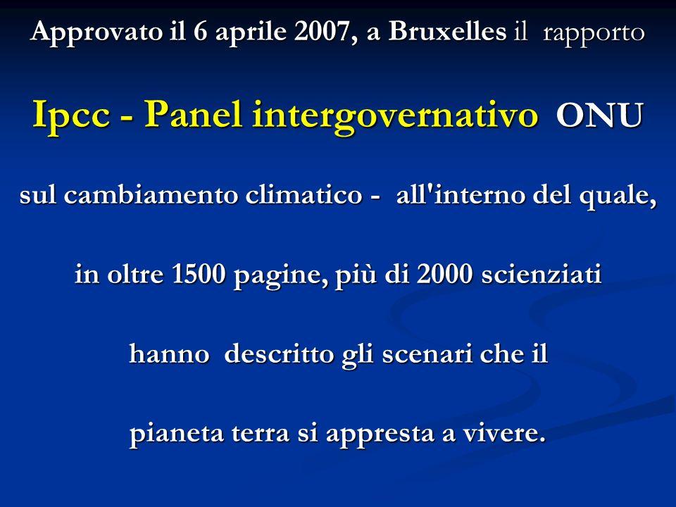 Approvato il 6 aprile 2007, a Bruxelles il rapporto Ipcc - Panel intergovernativo ONU sul cambiamento climatico - all'interno del quale, in oltre 1500