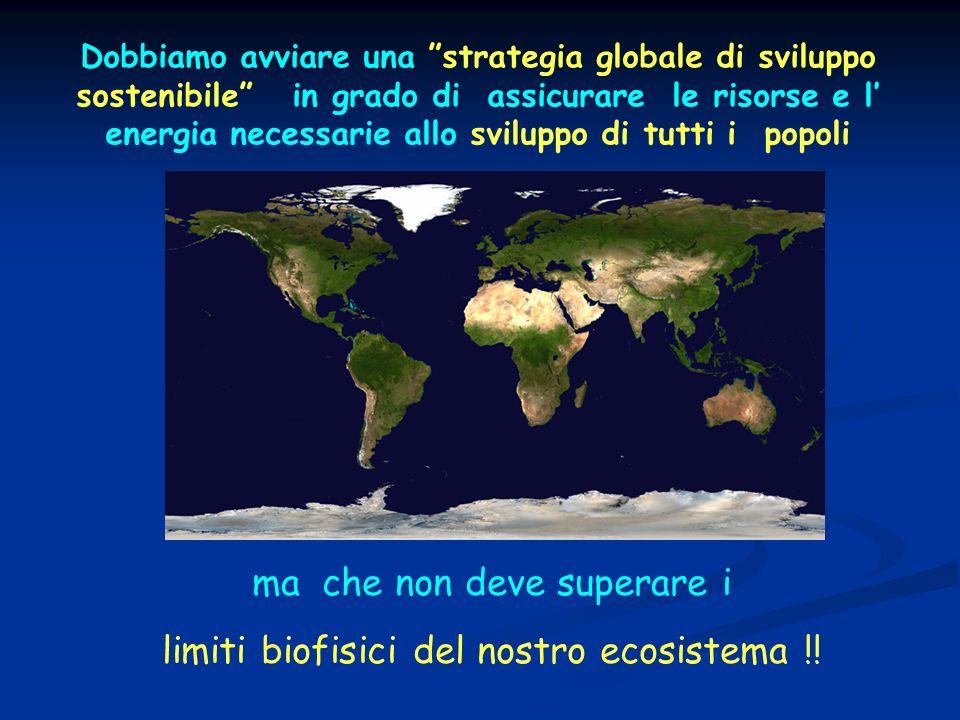 Dobbiamo avviare una strategia globale di sviluppo sostenibile in grado di assicurare le risorse e l energia necessarie allo sviluppo di tutti i popol