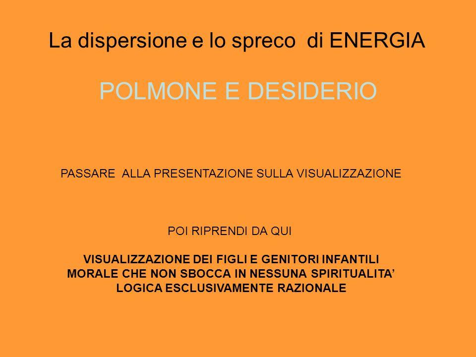 La dispersione e lo spreco di ENERGIA POLMONE E DESIDERIO PASSARE ALLA PRESENTAZIONE SULLA VISUALIZZAZIONE POI RIPRENDI DA QUI VISUALIZZAZIONE DEI FIGLI E GENITORI INFANTILI MORALE CHE NON SBOCCA IN NESSUNA SPIRITUALITA LOGICA ESCLUSIVAMENTE RAZIONALE