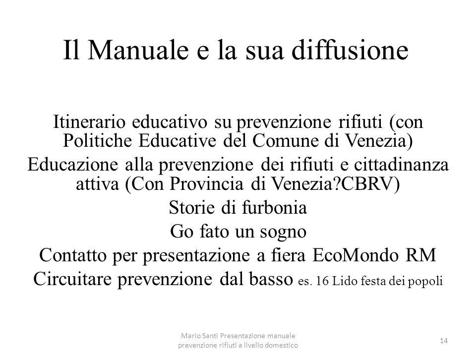 Mario Santi Presentazione manuale prevenzione rifiuti a livello domestico 14 Il Manuale e la sua diffusione Itinerario educativo su prevenzione rifiut