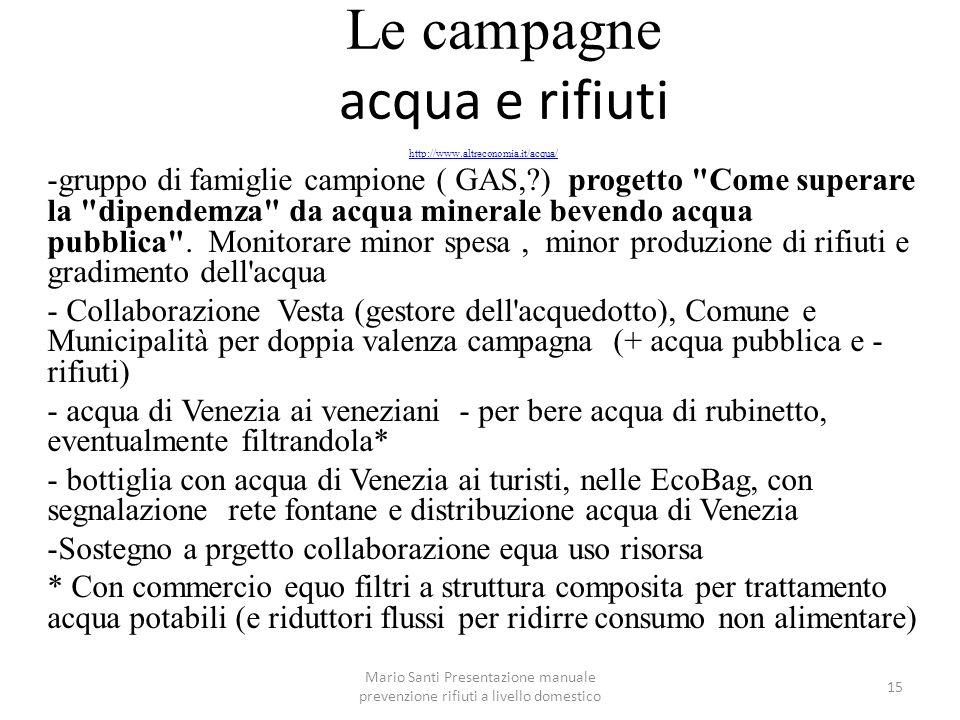 Mario Santi Presentazione manuale prevenzione rifiuti a livello domestico 15 Le campagne acqua e rifiuti http://www.altreconomia.it/acqua/ -gruppo di