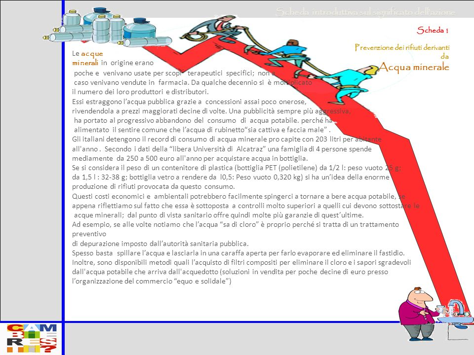 Mario Santi Presentazione manuale prevenzione rifiuti a livello domestico 9 Cosa possono fare le famiglie a)Consumare acqua potabile b)Consumare acqua potabile gassificata o microfiltrata c)NON USARE ACQUA MINERALE.