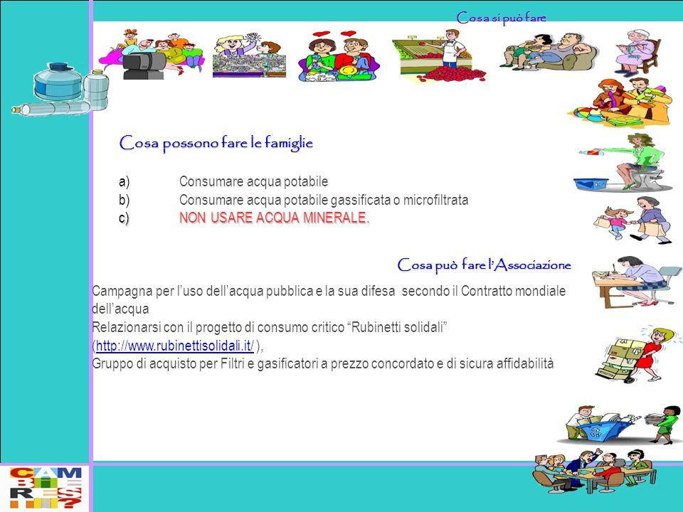 Mario Santi Presentazione manuale prevenzione rifiuti a livello domestico 9 Cosa possono fare le famiglie a)Consumare acqua potabile b)Consumare acqua