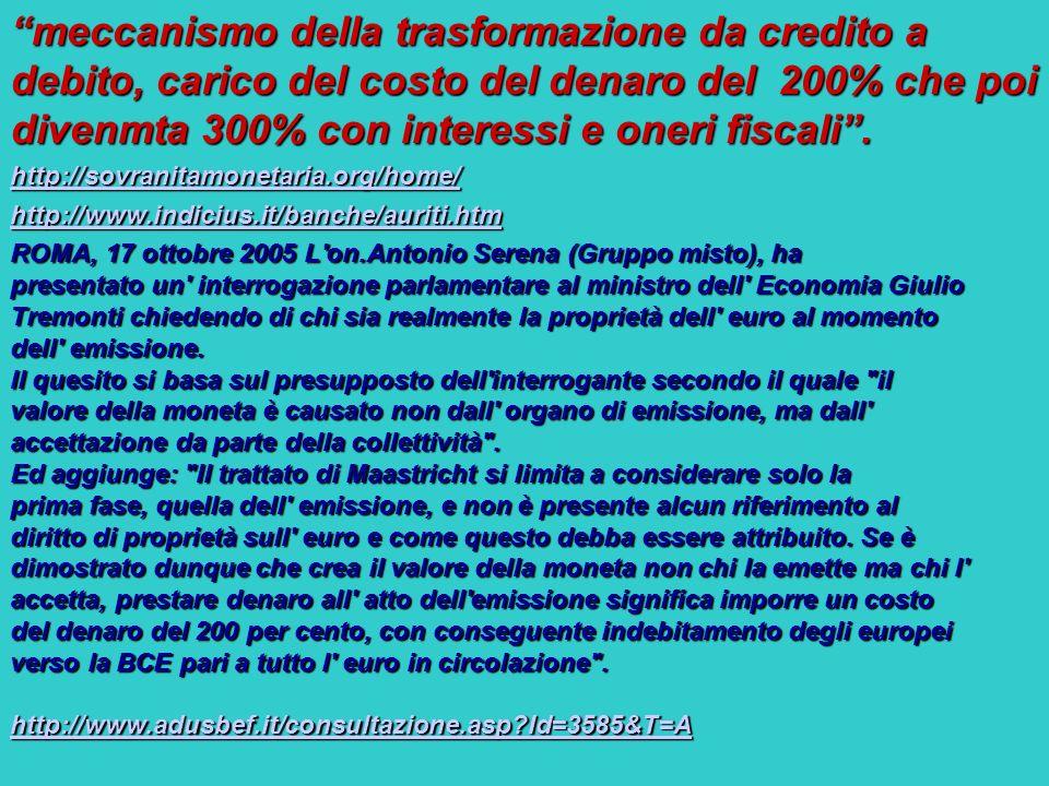 meccanismo della trasformazione da credito a debito, carico del costo del denaro del 200% che poi divenmta 300% con interessi e oneri fiscali. http://