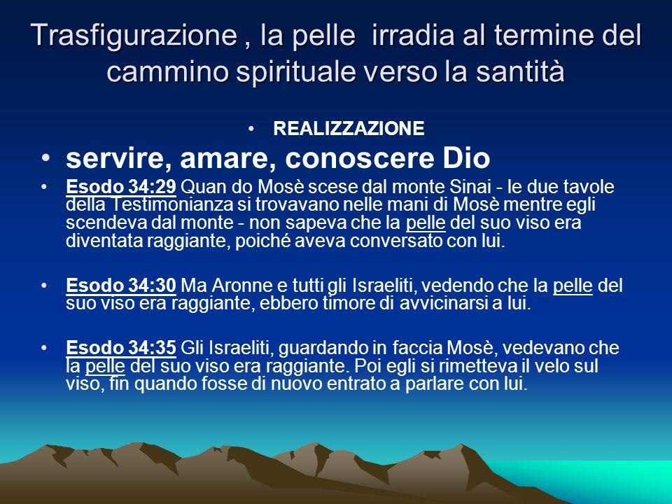 Trasfigurazione, la pelle irradia al termine del cammino spirituale verso la santità REALIZZAZIONE servire, amare, conoscere Dio Esodo 34:29 Quan do M