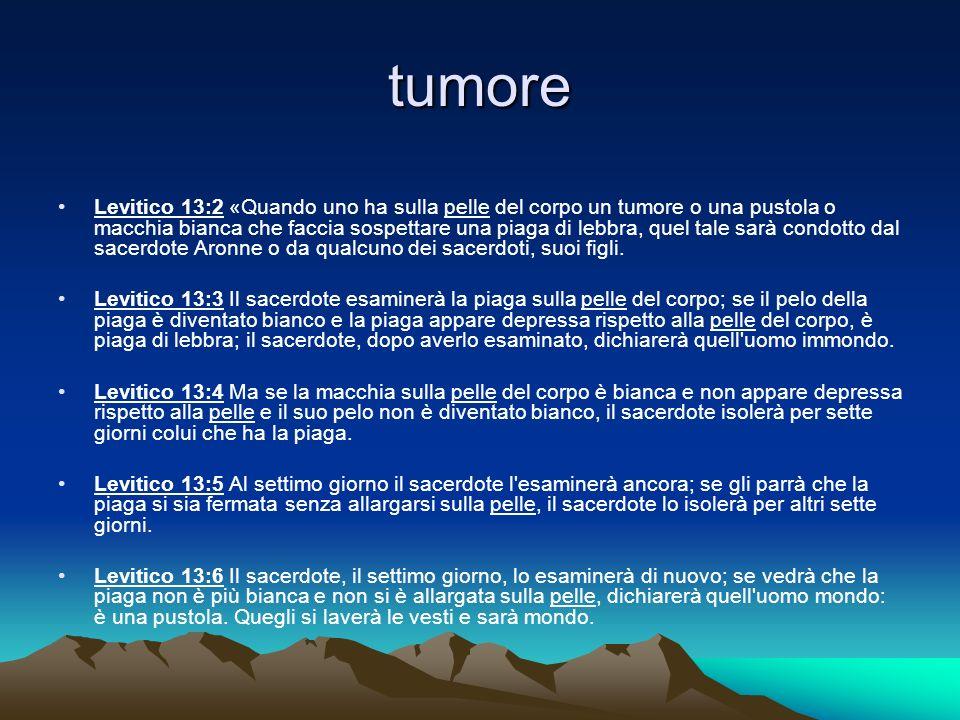 tumore Levitico 13:2 «Quando uno ha sulla pelle del corpo un tumore o una pustola o macchia bianca che faccia sospettare una piaga di lebbra, quel tal