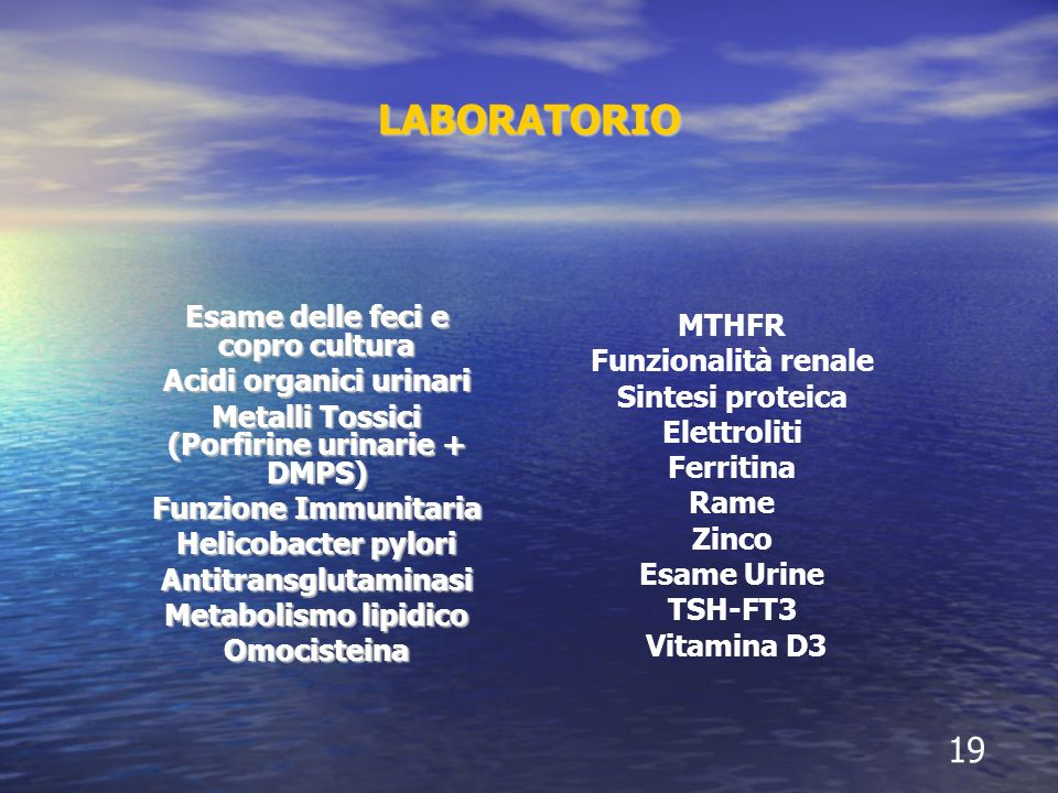 LABORATORIO Esame delle feci e copro cultura Acidi organici urinari Metalli Tossici (Porfirine urinarie + DMPS) Funzione Immunitaria Helicobacter pylo
