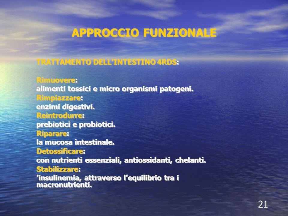 APPROCCIO FUNZIONALE TRATTAMENTO DELLINTESTINO 4RDS: Rimuovere: alimenti tossici e micro organismi patogeni.