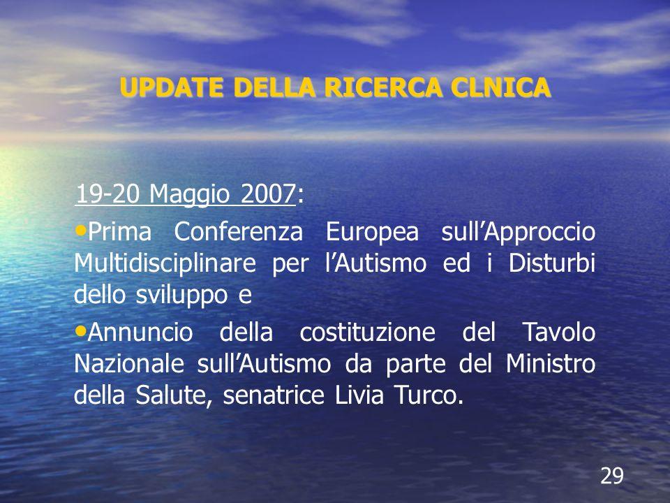 UPDATE DELLA RICERCA CLNICA 29 19-20 Maggio 2007: Prima Conferenza Europea sullApproccio Multidisciplinare per lAutismo ed i Disturbi dello sviluppo e Annuncio della costituzione del Tavolo Nazionale sullAutismo da parte del Ministro della Salute, senatrice Livia Turco.
