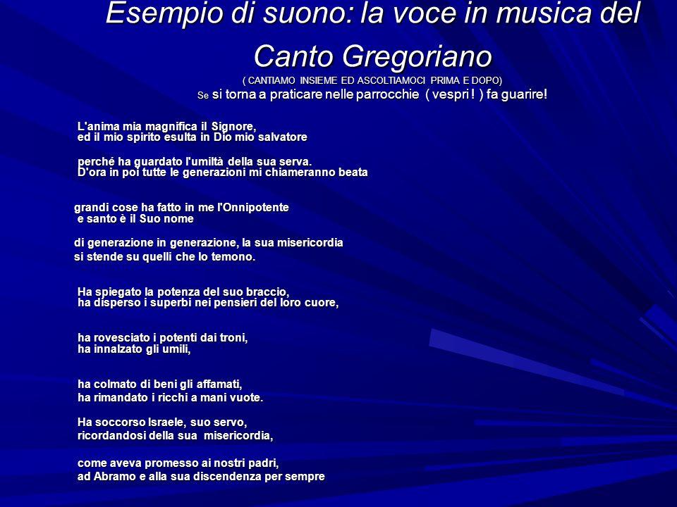 Esempio di suono: la voce in musica del Canto Gregoriano ( CANTIAMO INSIEME ED ASCOLTIAMOCI PRIMA E DOPO) Se si torna a praticare nelle parrocchie ( vespri .
