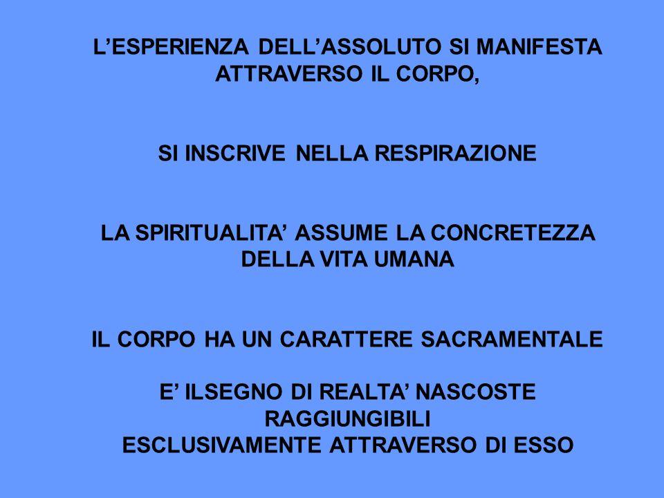 LESPERIENZA DELLASSOLUTO SI MANIFESTA ATTRAVERSO IL CORPO, SI INSCRIVE NELLA RESPIRAZIONE LA SPIRITUALITA ASSUME LA CONCRETEZZA DELLA VITA UMANA IL CO
