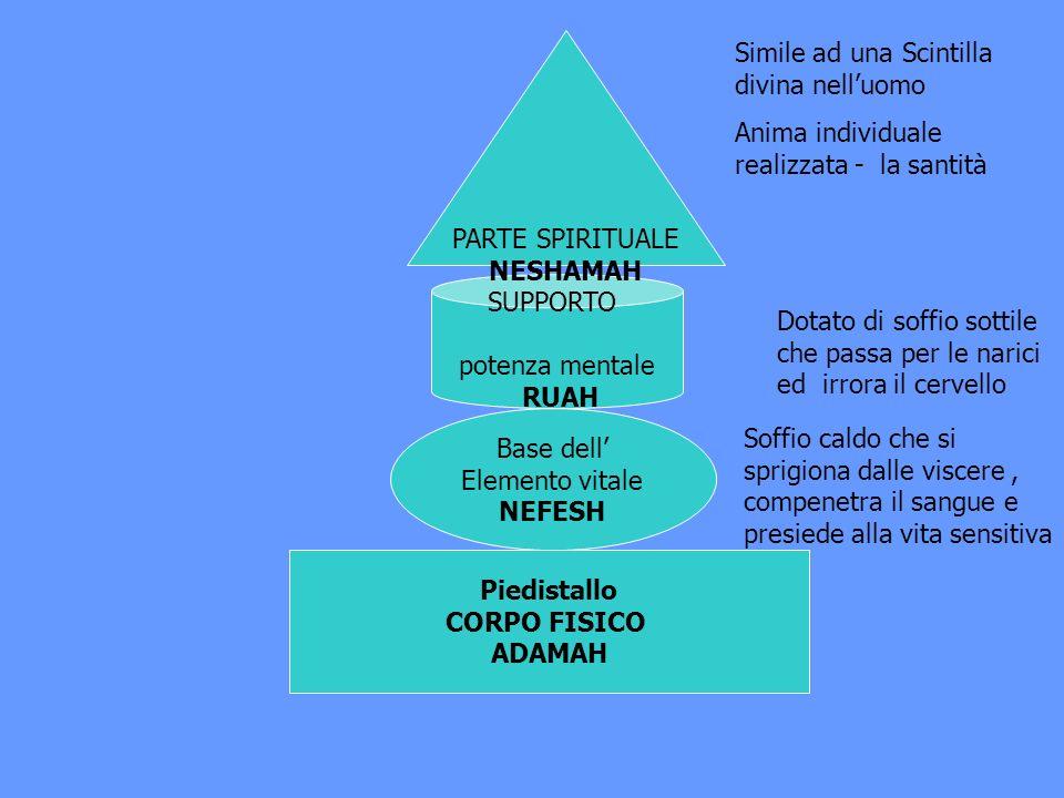 Piedistallo CORPO FISICO ADAMAH Base dell Elemento vitale NEFESH SUPPORTO potenza mentale RUAH PARTE SPIRITUALE NESHAMAH Soffio caldo che si sprigiona