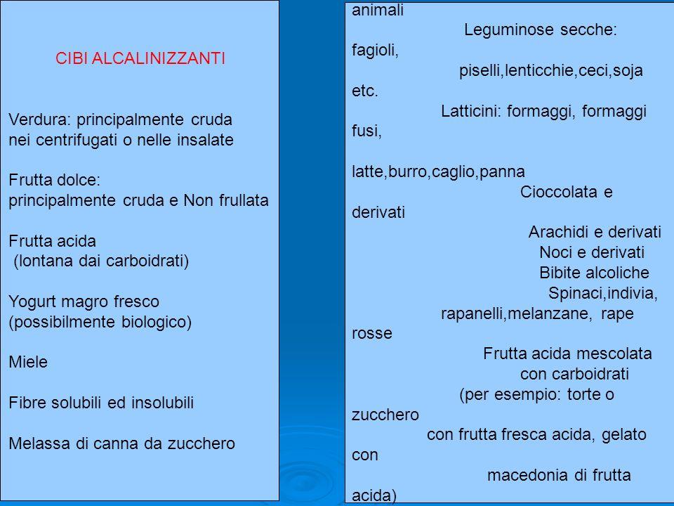 CIBI ALCALINIZZANTI Verdura: principalmente cruda nei centrifugati o nelle insalate Frutta dolce: principalmente cruda e Non frullata Frutta acida (lo