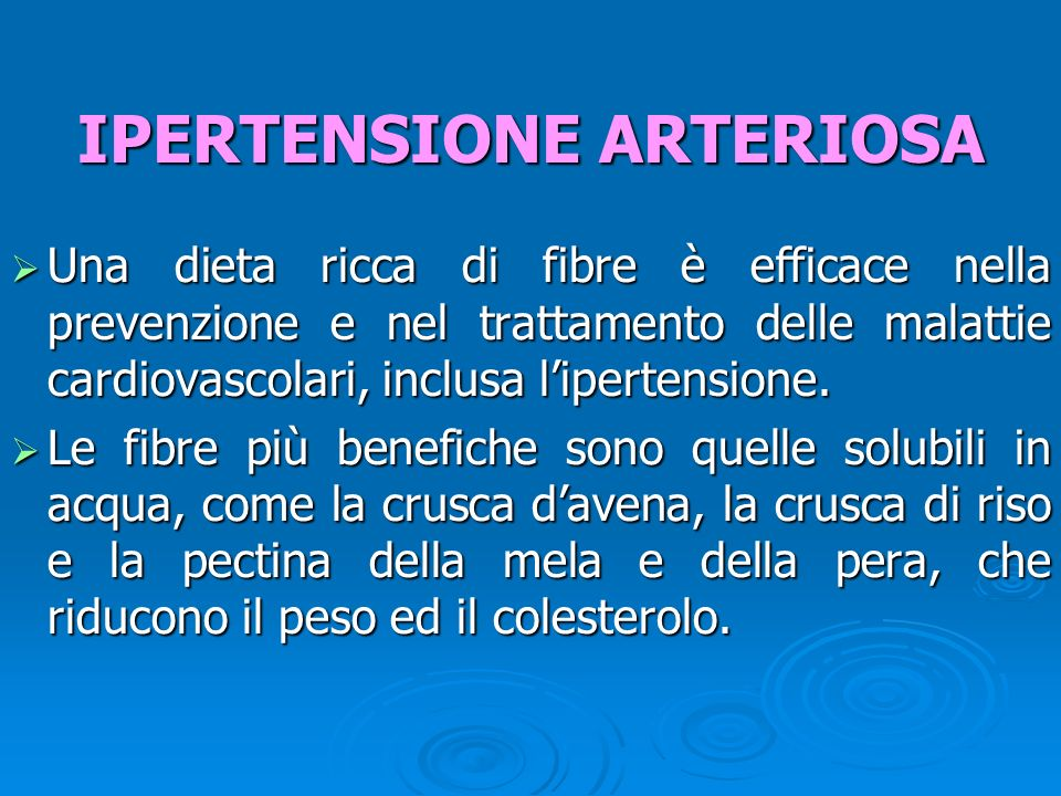 Una dieta ricca di fibre è efficace nella prevenzione e nel trattamento delle malattie cardiovascolari, inclusa lipertensione.