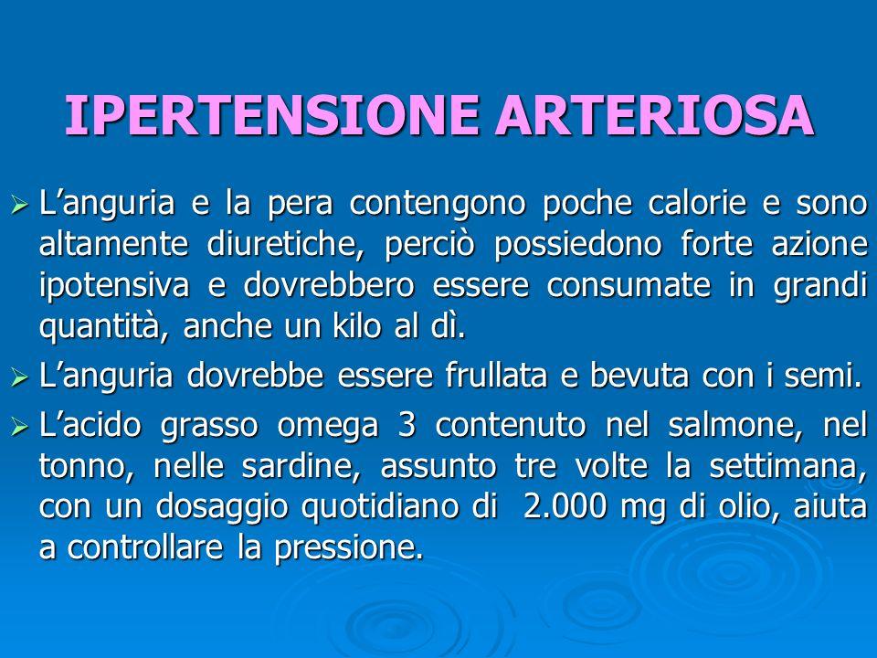 Languria e la pera contengono poche calorie e sono altamente diuretiche, perciò possiedono forte azione ipotensiva e dovrebbero essere consumate in grandi quantità, anche un kilo al dì.