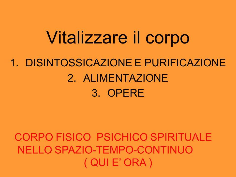 Vitalizzare il corpo 1.DISINTOSSICAZIONE E PURIFICAZIONE 2.ALIMENTAZIONE 3.OPERE CORPO FISICO PSICHICO SPIRITUALE NELLO SPAZIO-TEMPO-CONTINUO ( QUI E ORA )
