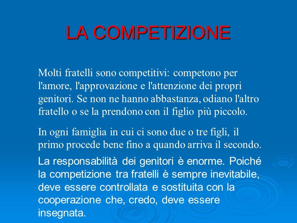 LA COMPETIZIONE Molti fratelli sono competitivi: competono per l amore, l approvazione e l attenzione dei propri genitori.