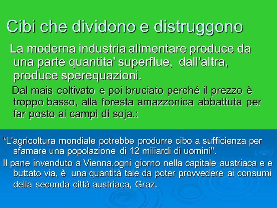 Cibi che dividono e distruggono La moderna industria alimentare produce da una parte quantita superflue, dall altra, produce sperequazioni.