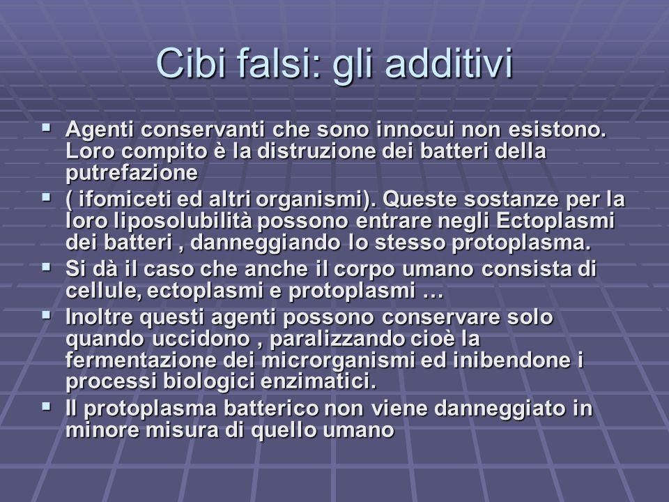 Cibi falsi: gli additivi Agenti conservanti che sono innocui non esistono. Loro compito è la distruzione dei batteri della putrefazione Agenti conserv
