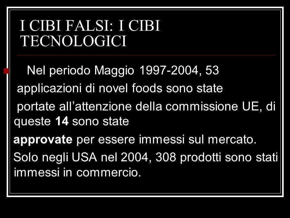 I CIBI FALSI: I CIBI TECNOLOGICI Nel periodo Maggio 1997-2004, 53 applicazioni di novel foods sono state portate allattenzione della commissione UE, di queste 14 sono state approvate per essere immessi sul mercato.