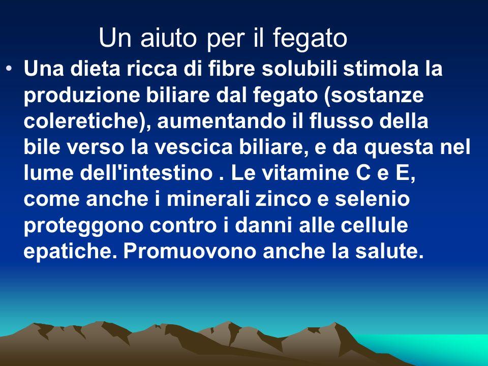 Una dieta ricca di fibre solubili stimola la produzione biliare dal fegato (sostanze coleretiche), aumentando il flusso della bile verso la vescica bi