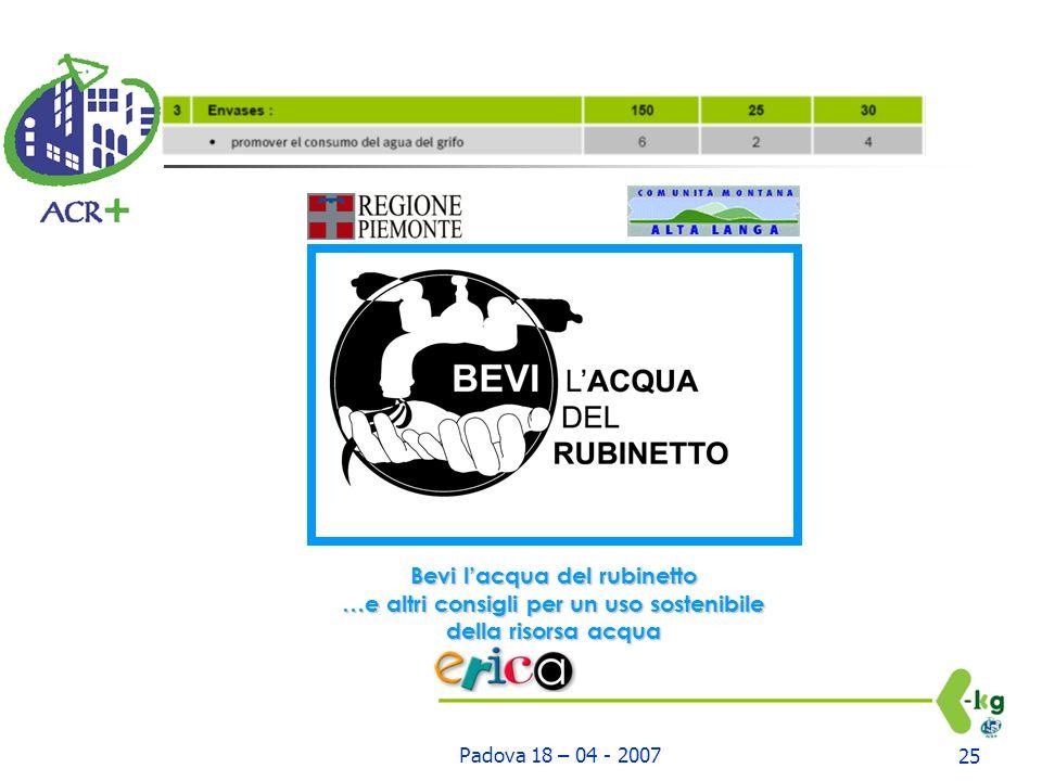 Padova 18 – 04 - 200725 Bevi lacqua del rubinetto …e altri consigli per un uso sostenibile della risorsa acqua